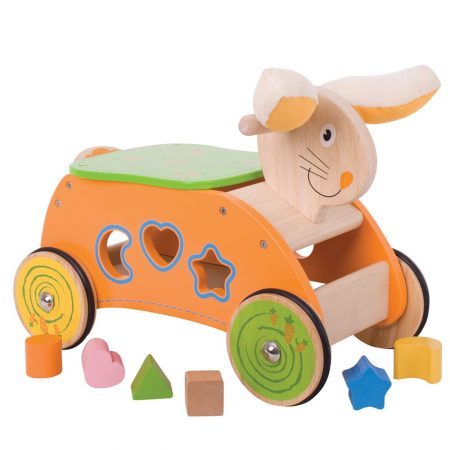 Loopsorteerkonijn geel Bigjigs toys