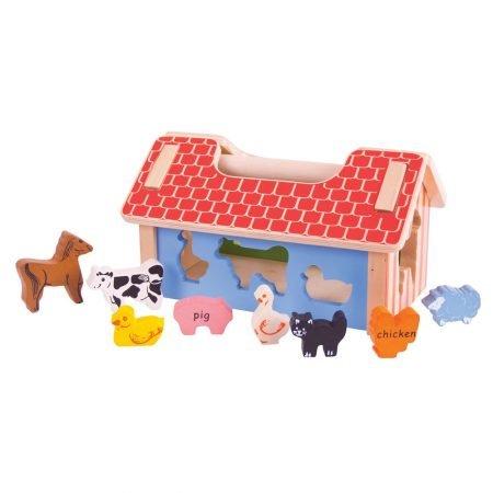 houten boerderij met dieren