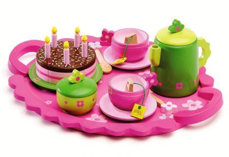 Speelgoed serviesje hout roze Djeco